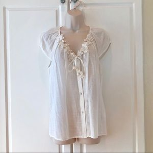 100% Cotton ivory top Size M